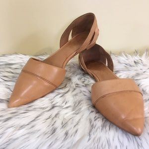 Madewell D'Orsay Leather Flats in Sandstone